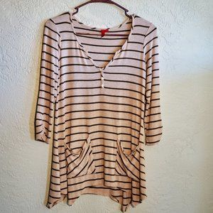 5/48 SMALL STRIPED 3/4 LENGTH SLEEVE TOP
